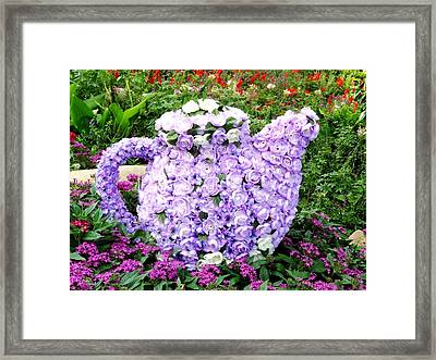 Teapot From Flowers Framed Print by Zina Stromberg