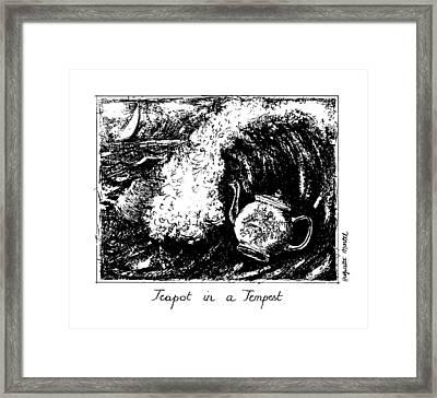 Teapot In A Tempest Framed Print by Huguette Marte