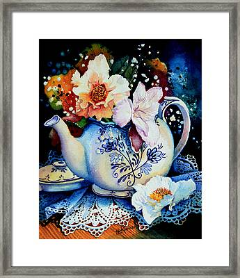 Teapot Posies And Lace Framed Print by Hanne Lore Koehler