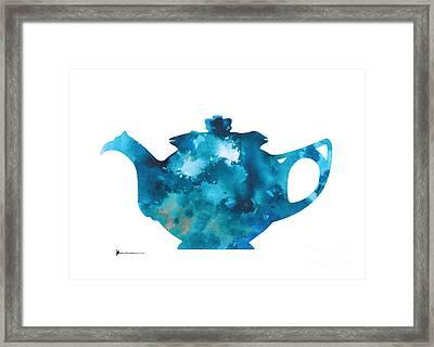 Teapot Silhouette Painting Abstract Wall Decor Framed Print by Joanna Szmerdt