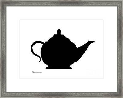 Teapot Silhuette Painting Watercolor Art Print Framed Print by Joanna Szmerdt