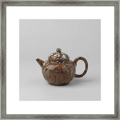 Teapot With Lid, Blue-white Marbled. The Lid Features Three Framed Print