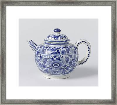 Teapot With Lid Of Blue Painted Faience, On Foot Ring Framed Print by Quint Lox