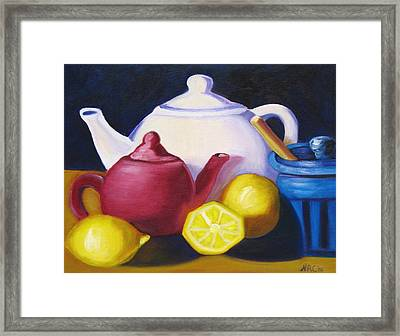 Teapots In Primary Colors Framed Print