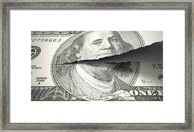 Tearing American Dollar Framed Print by Allan Swart