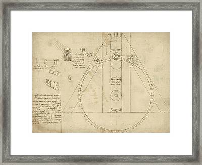 Teaseling Machine From Atlantic Codex Framed Print by Leonardo Da Vinci