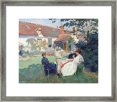 Teatime Framed Print by Jules Ernest Renoux