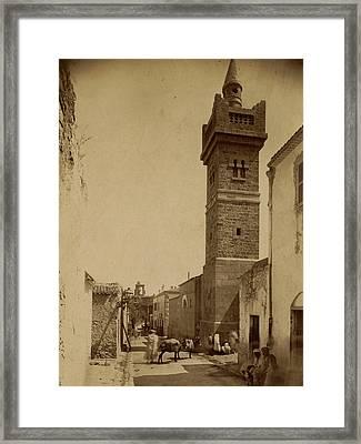 Tebessa Mosque Street Caracalla, Algiers, Neurdein Brothers Framed Print by Litz Collection