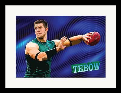 Tim Tebow Digital Art Framed Prints
