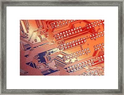 Tech Abstract Framed Print by Tony Cordoza