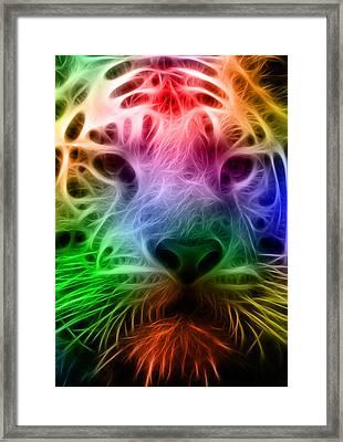 Techicolor Tiger Framed Print by Ricky Barnard