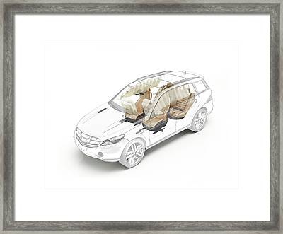 Technical Drawing Of Car Seats And Airbags Framed Print by Leonello Calvetti/science Photo Library