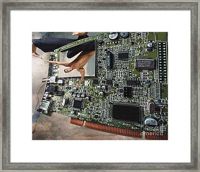 Circuit Board Electronic Art Technobat Abstract Framed Print