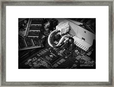 Technology - Motherboard In Black And White Framed Print