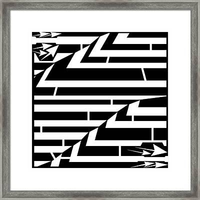 Techthonic Zig-zag Maze  Framed Print by Yonatan Frimer Maze Artist