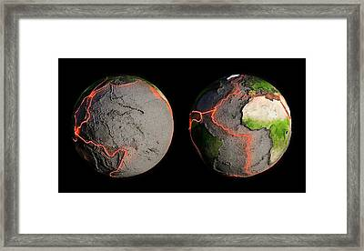 Tectonic Plates And Fault Lines Framed Print