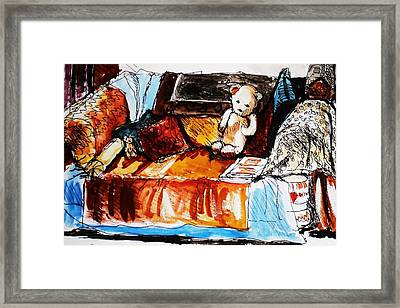 Ted On The Sofa Framed Print by Anne Parker
