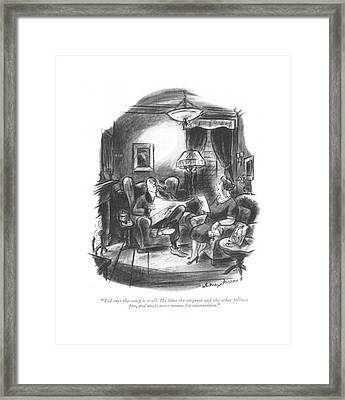 Ted Says The Camp Is Swell. He Likes The Sergeant Framed Print by Whitney Darrow, Jr.