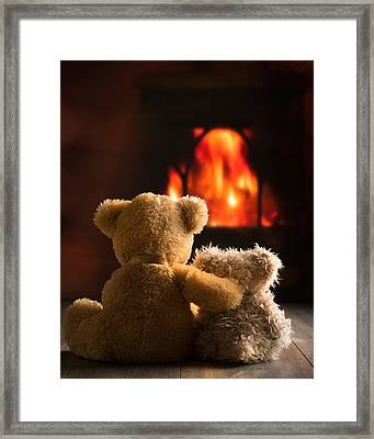 Teddies By The Fire Framed Print