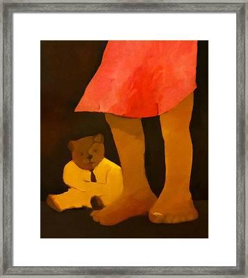 Teddy And Girl Framed Print
