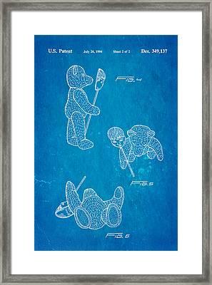 Teddy Bear And Mask 2 Patent Art 1994 Blueprint Framed Print by Ian Monk