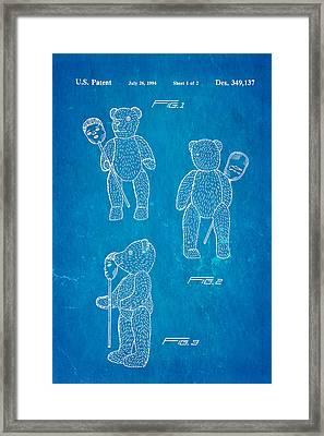 Teddy Bear And Mask Patent Art 1994 Blueprint Framed Print by Ian Monk