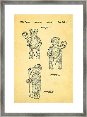 Teddy Bear And Mask Patent Art 1994 Framed Print by Ian Monk