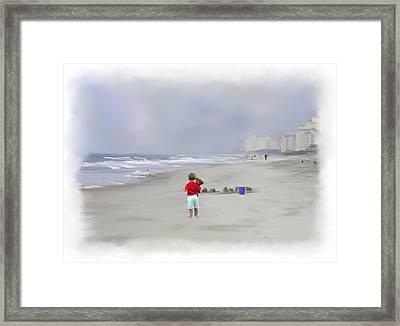 Teddy Bear And Sand Castles  Framed Print by Mary Timman