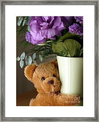 Teddy Bear Hugs Framed Print by Avis  Noelle