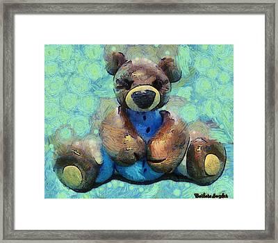 Teddy Bear In Blue Framed Print by Barbara Snyder