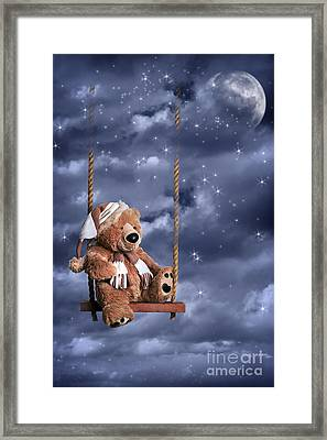 Teddy Bear In Night Sky Framed Print
