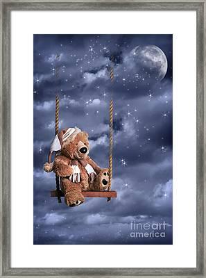 Teddy Bear In Night Sky Framed Print by Amanda Elwell