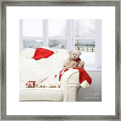 Teddy Bear On Sofa Framed Print