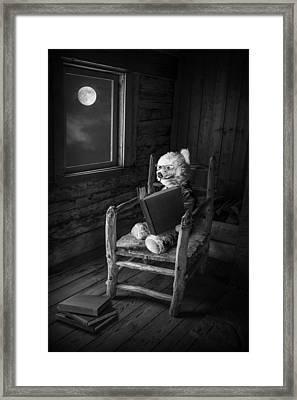 Teddy Bear Reading By Moonlight Framed Print by Randall Nyhof