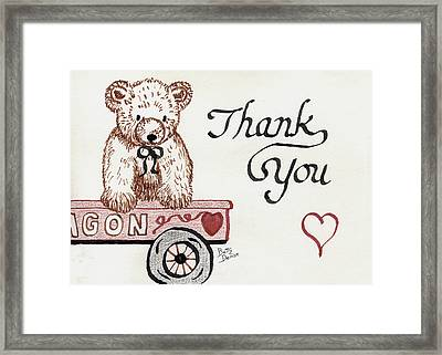 Framed Print featuring the drawing Teddy Bear Thank You by Betty Denise