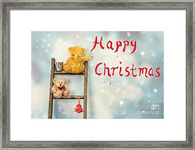 Teddy Bears At Christmas Framed Print by Amanda Elwell