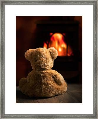 Teddy By The Fire Framed Print by Amanda Elwell