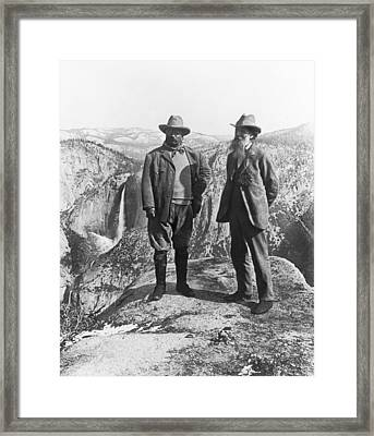 Teddy Roosevelt And John Muir Framed Print by Underwood Archives