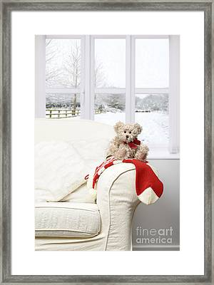 Teddy Sitting On Chair Framed Print