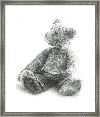 Framed Print featuring the drawing Teddy Study by Meagan  Visser
