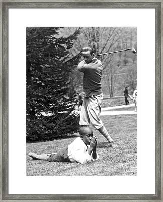 Teeing Off Head Of Caddy Framed Print