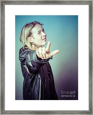 Teen Boy Rocker Framed Print