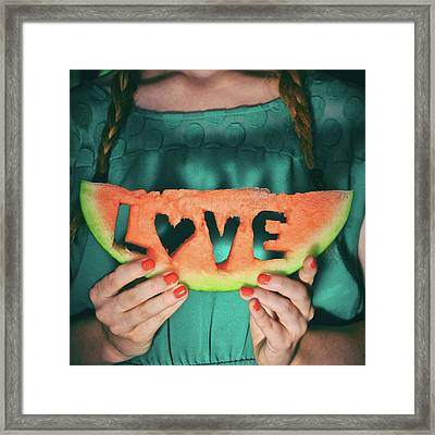 Teen With Watermelon Slice Framed Print by