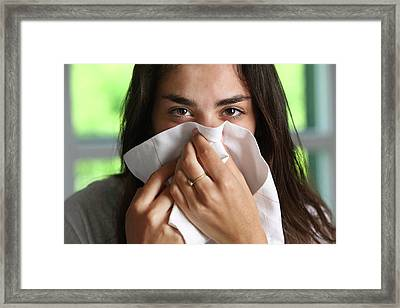 Teenage Girl With A Cold Framed Print