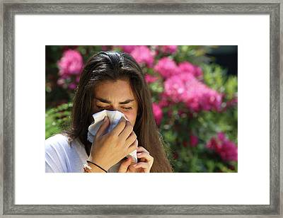 Teenage Girl With Hayfever Framed Print