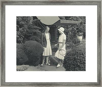 Teenage Girls At A Tennis Court Framed Print