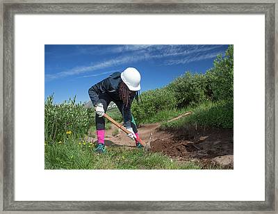 Teenager Maintaining Hiking Trail Framed Print