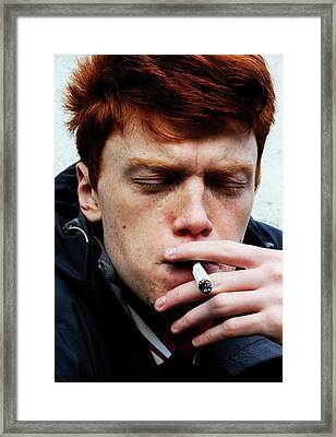Teenager Smoking Framed Print by Cordelia Molloy