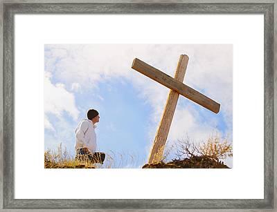 Teenager Standing At Cross Framed Print