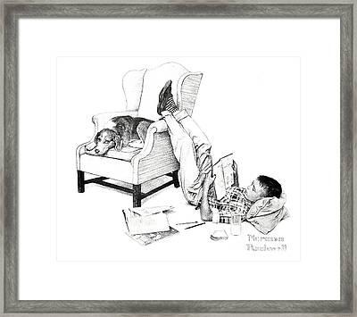 Teenager Studying Framed Print by Susan Leggett